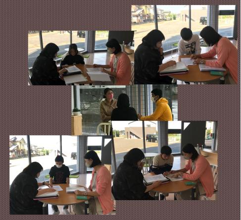 前期の実習が終わり、どのぐらい評価されたか!担当先生達と生徒の一人ずつに面談を行いました。